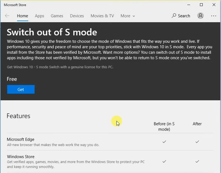 Switching out of S mode in Windows 10